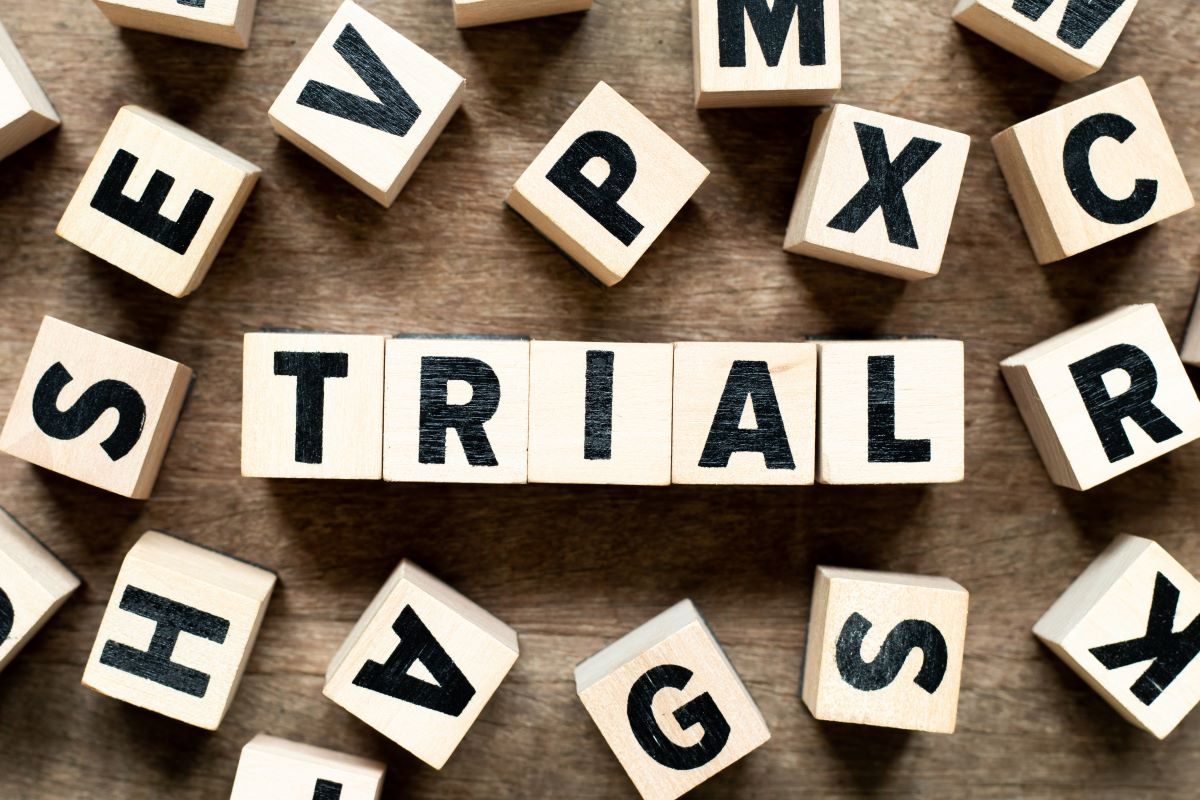The word Trial spelled out in blocks.